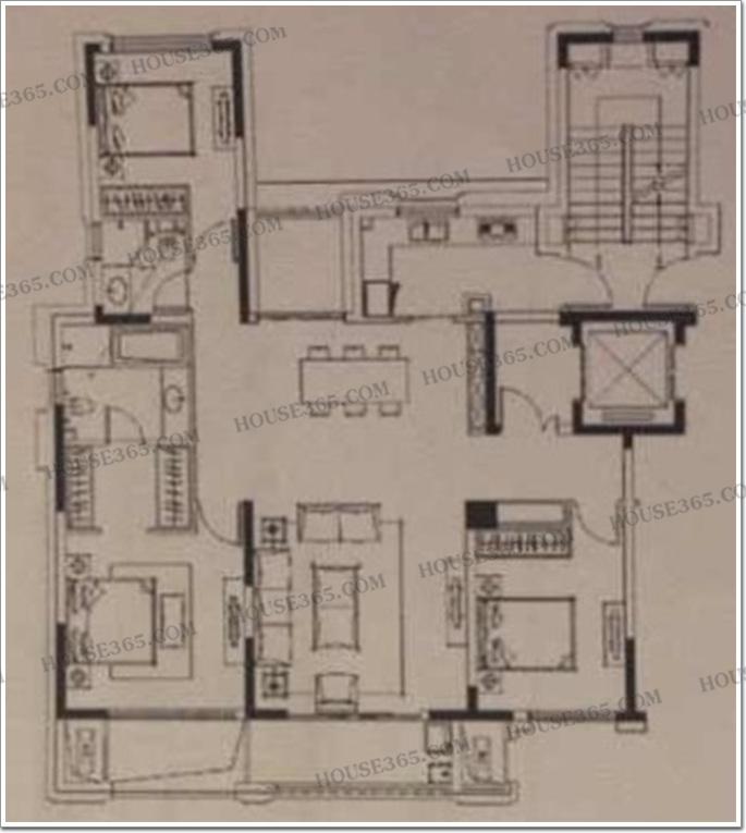 143㎡户型——三室两厅两卫