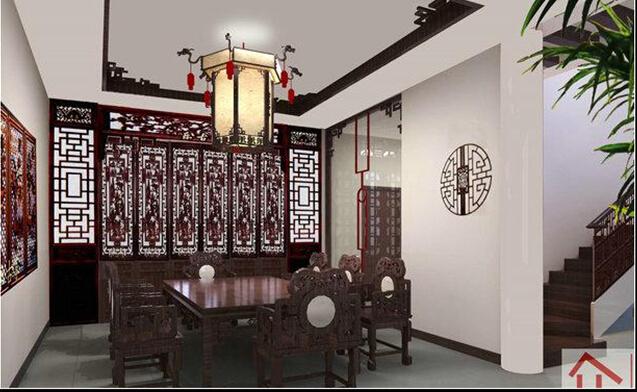 运用中式格调的实木雕花吊顶与实木线,结合水晶造型的吊灯打造整体