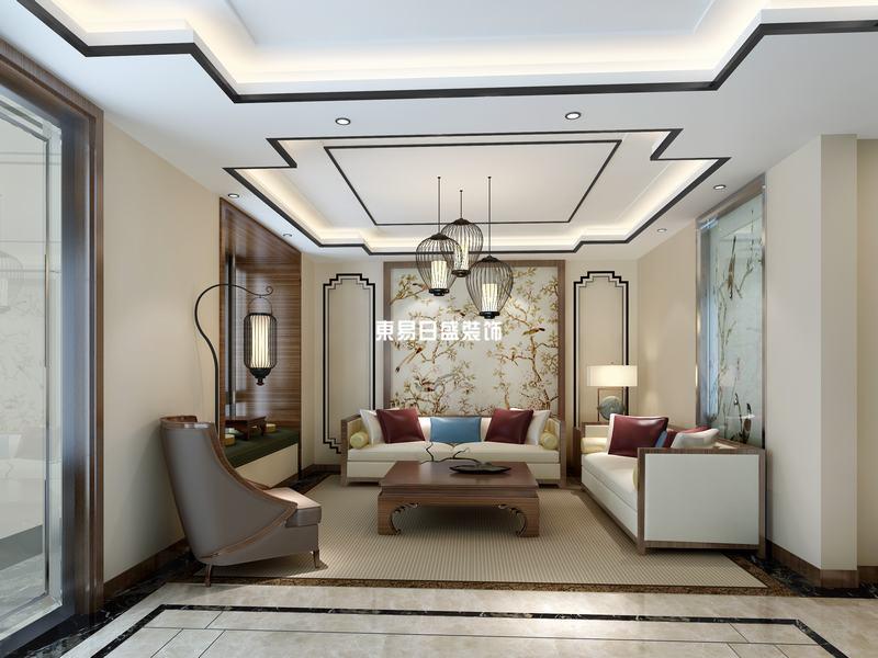 客厅背景墙采用中国传统的国画