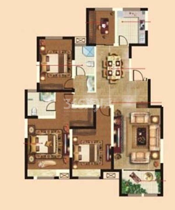 天丰东环广场C1/C2/D1/D2户型图四室二厅二卫151�O