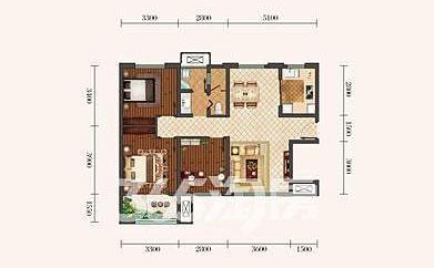 金泰丝路荟B1户型三室两厅105�O
