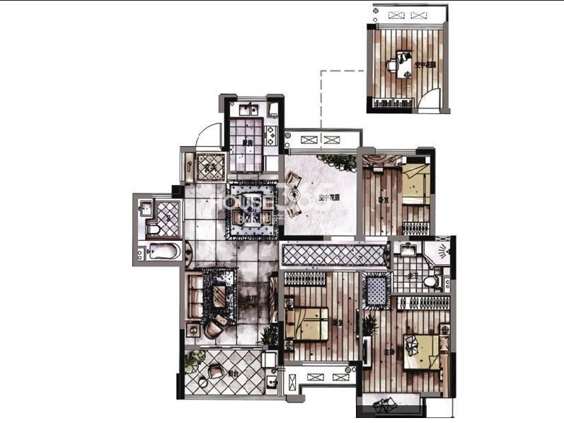 西湖君庭8#标准层E户型四房二厅二卫114㎡