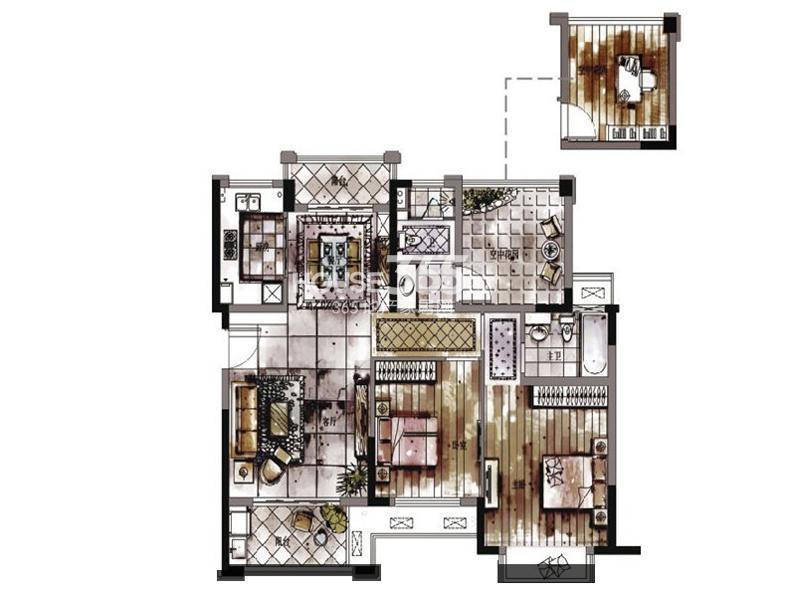 西湖君庭2#3#10#11#标准层C户型三房二厅一卫99㎡