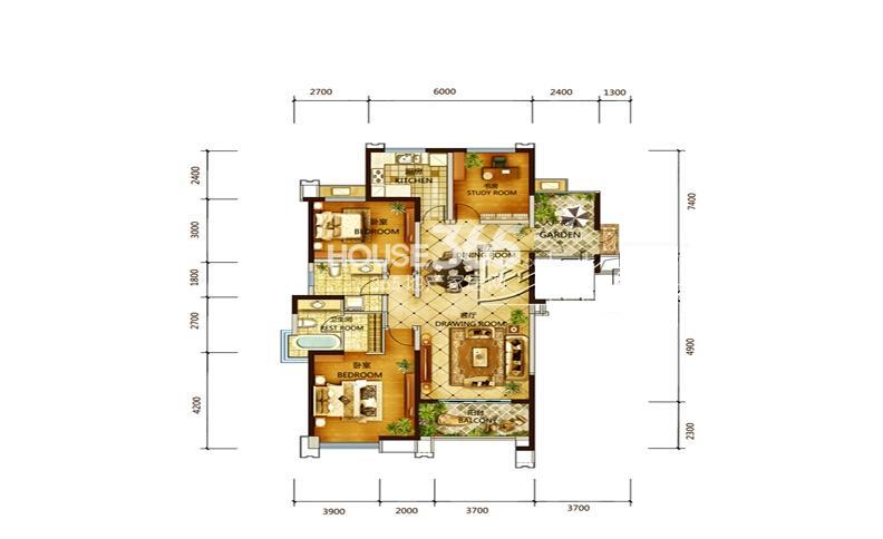 世园大公馆8号楼D2户型3室2厅2卫1厨 116.00㎡