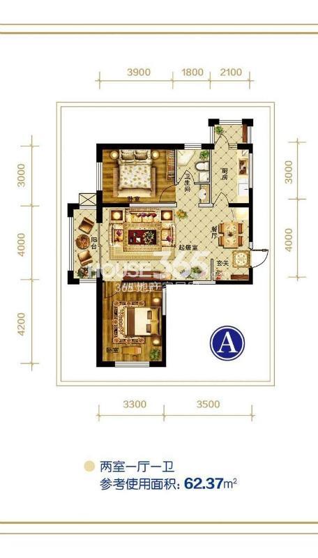 A户型 两室一厅一卫 参考使用面积62.37㎡