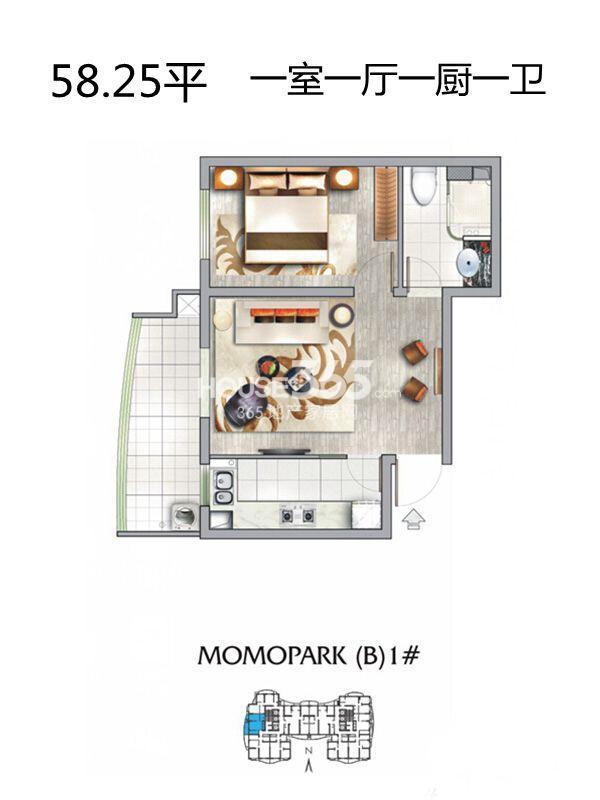 MOMOPARK纽约MOMA(公寓)1室1厅1卫 58.25㎡