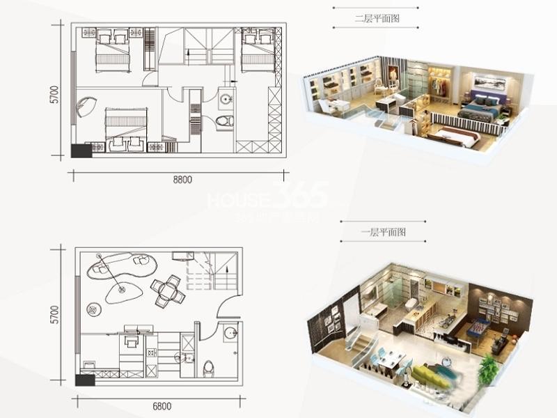 南飞鸿广场B1户型一室一厅一卫 52.00㎡