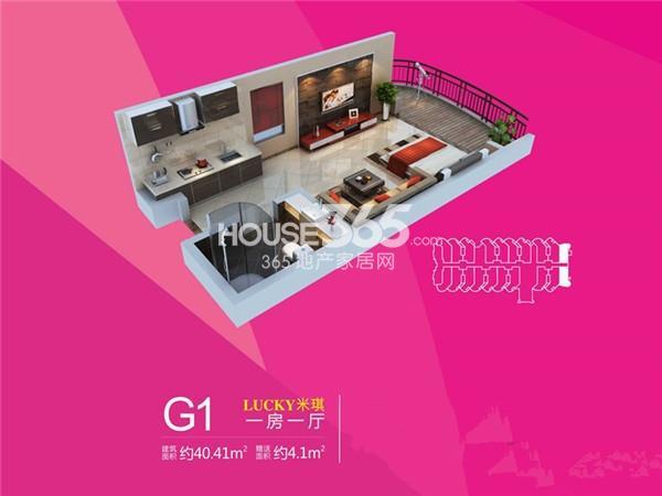 雅居·铂琅峯12#楼G1户型一室一厅一卫40.41㎡