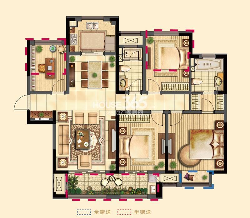 吴江新城吾悦广场二期9号楼标准层C户型3室2厅2卫1厨137㎡