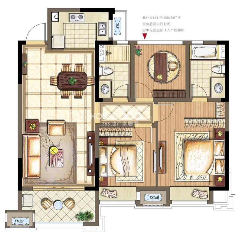 金科观天下C1户型2+1室两厅两卫106平米