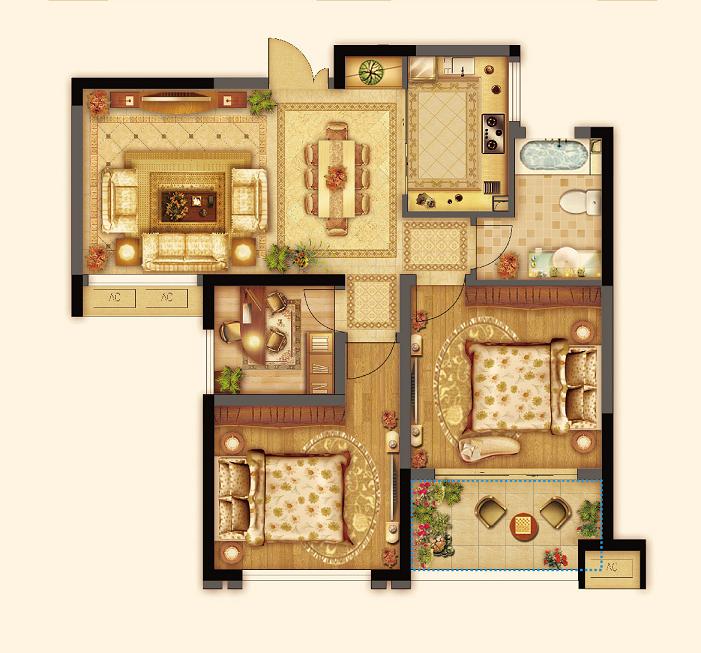 七里香都 卢浮官邸C3户型三室两厅一卫约89平 2013.11.22