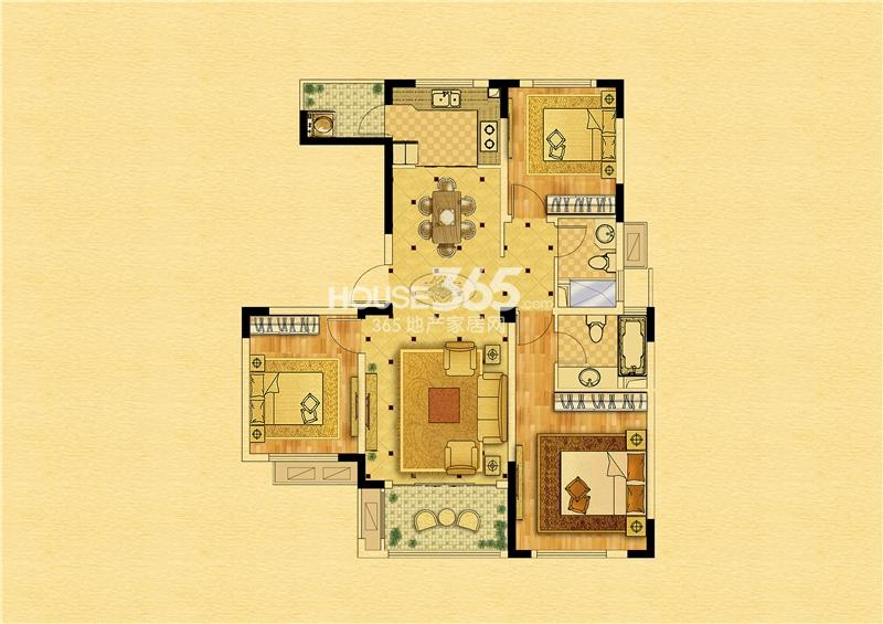 中南锦苑108㎡-1#2#7#8#楼-三室两厅一厨两卫