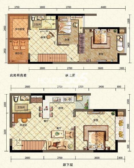 二期6号楼标准层B户型 三室一厅一厨两卫 52平米