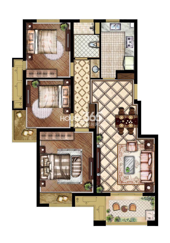 山湖一号一期户型图3室2厅1卫125平
