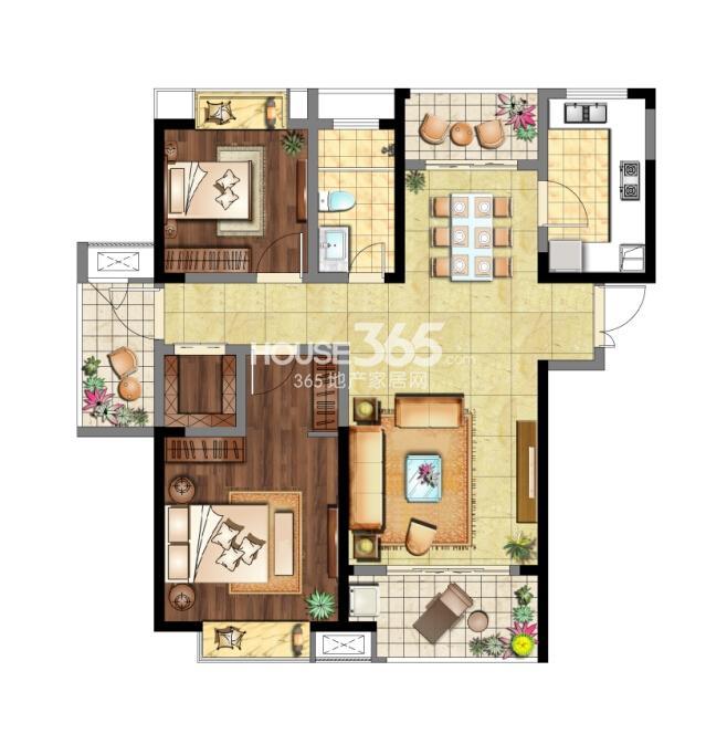 7#标准层04室 C2户型 2室2厅1卫 约111㎡