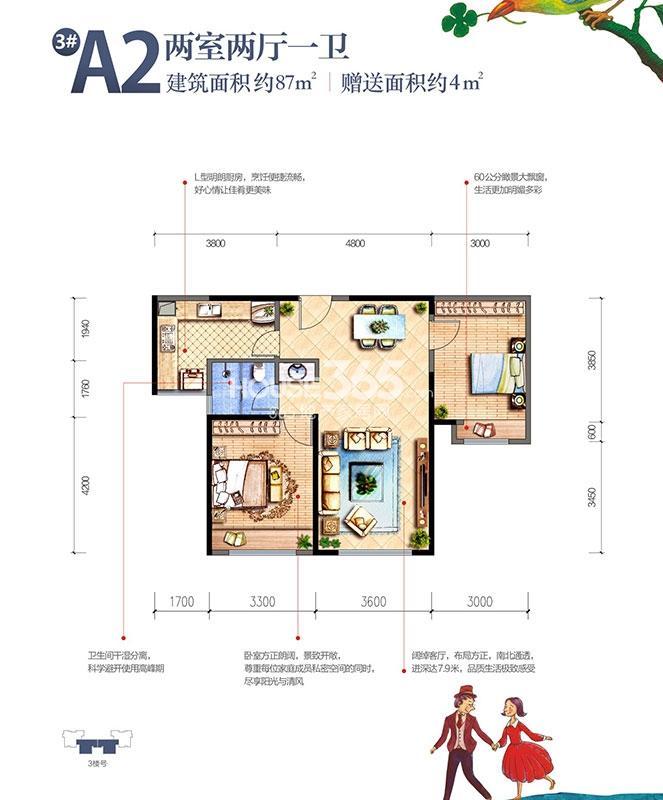 雅居乐湖居笔记3#楼A2户型两室两厅一卫87㎡