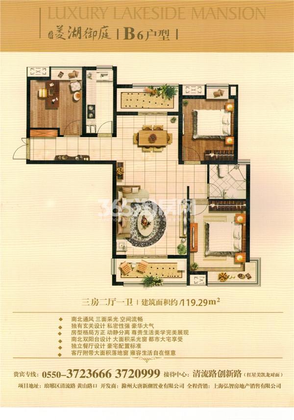 大唐菱湖御庭B6户型图三房两厅一卫 119平