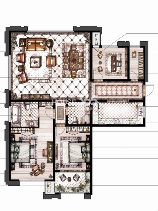 御庭园B(139.6㎡)户型图