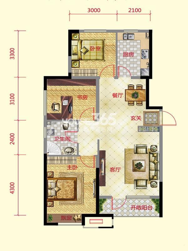 保利紫荆公馆 3室2厅1卫  109平