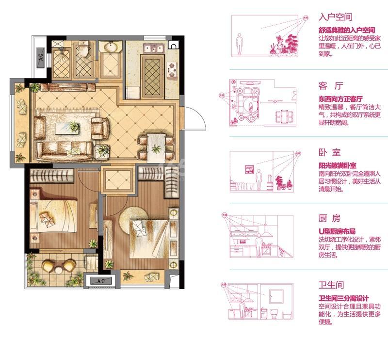 金辉优步花园C2户型75㎡两室两厅一卫