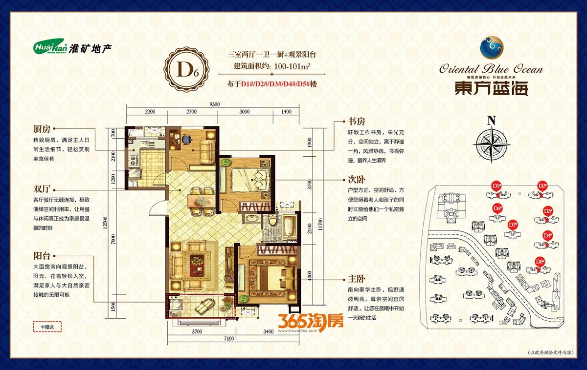淮矿东方蓝海D6户型(100-101平米)