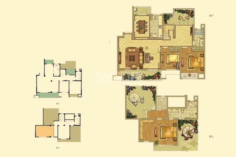 招商雍和苑洋房E户型167㎡4室2厅1卫