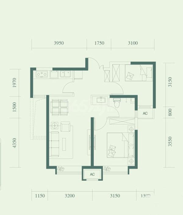 D户型, 2室2厅1卫, 约72.00平米