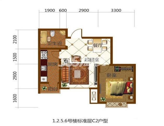 标准层C2户型65㎡1室1厅1卫