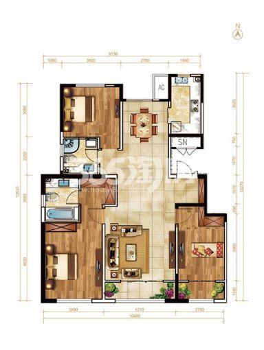 洋房23号楼138平米户型 3室2厅2卫(售完)