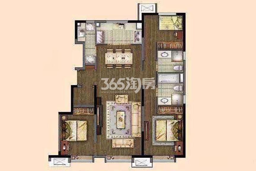 洋房标准层120㎡ 3室2厅1厨1卫