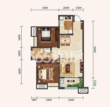 金泰丝路荟B2户型两室两厅85平米