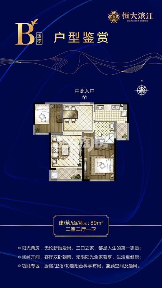 恒大滨江项目89㎡两室两厅一卫户型图