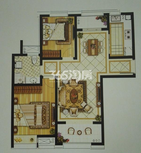 B-9两室两厅一卫户型(93㎡)