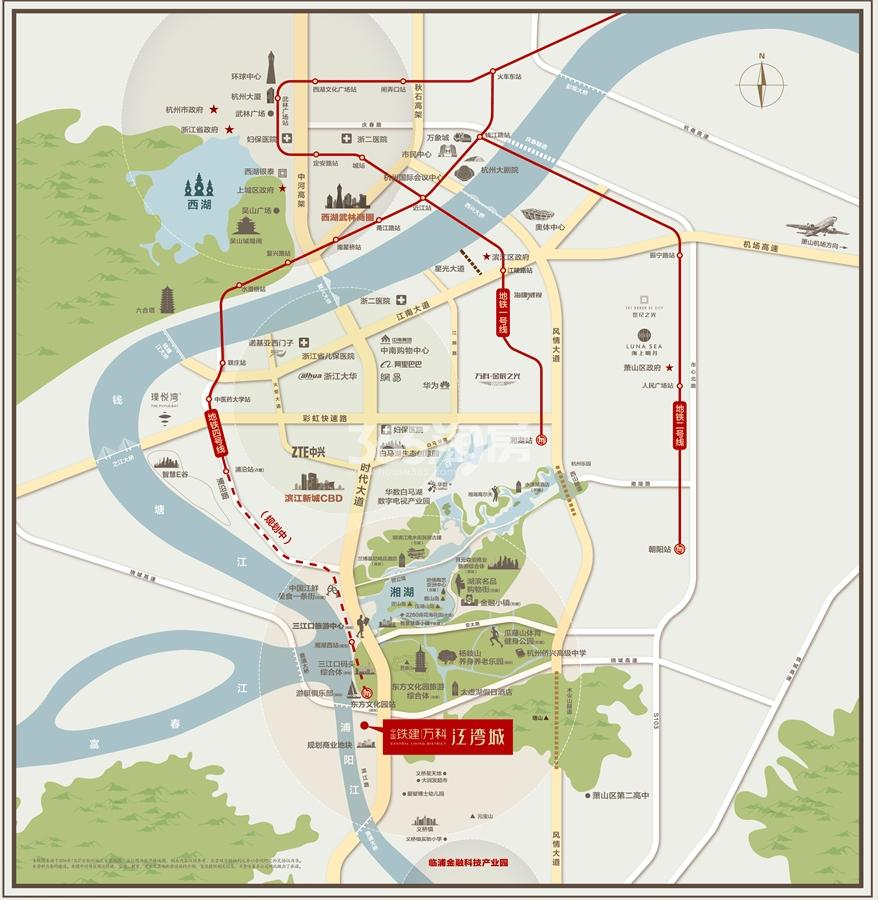中国铁建万科江湾城交通图