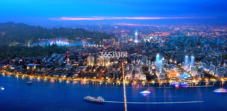 滨江保利翡翠海岸项目俯瞰河景效果图