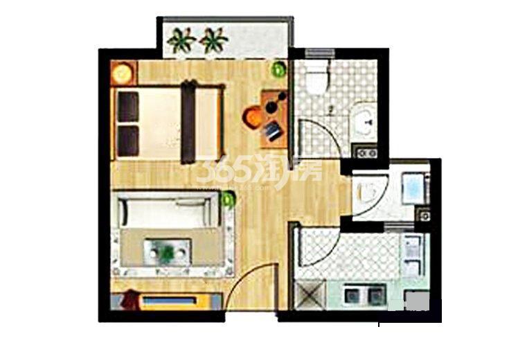 绿地璀璨天城公寓50平户型图