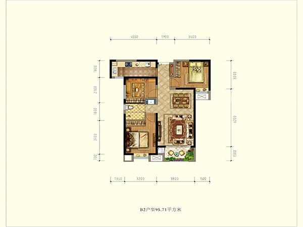 德杰状元府邸B2户型三室两厅一厨一卫95.71㎡
