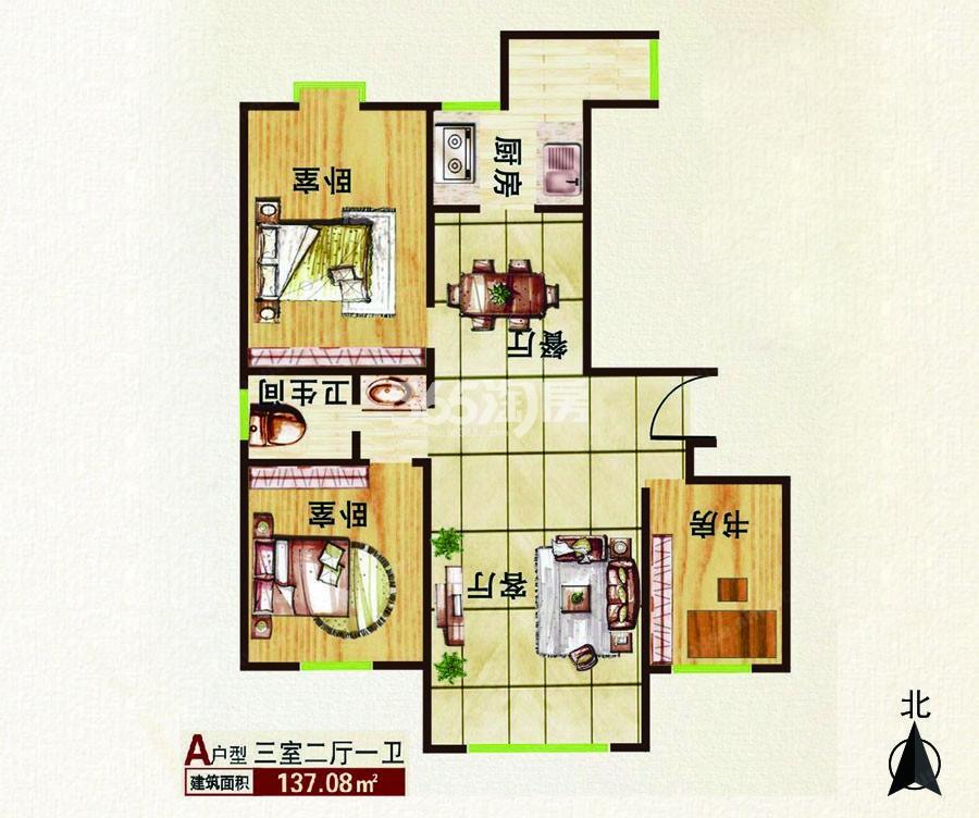 三室两厅一卫137.08平方米