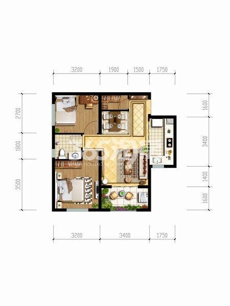 天朗玖悦都两室两厅一厨一卫68.55户型图