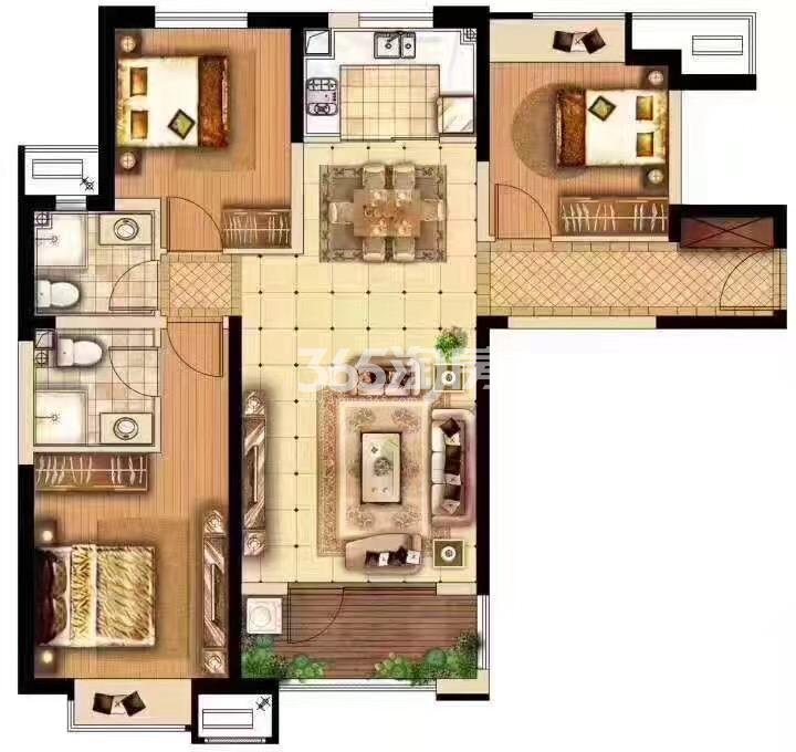 奥林匹克花园H3#楼三室两厅一厨两卫112㎡