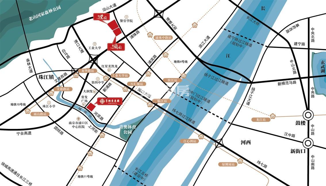 通宇林景紫园交通图