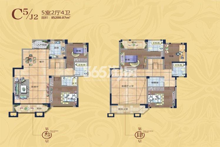 国润城洋房3室3厅4卫1厨206.42平米户型