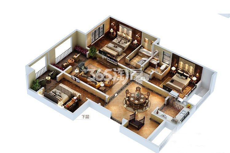 曲江香都10F户型下层5室2厅3卫1厨207平米