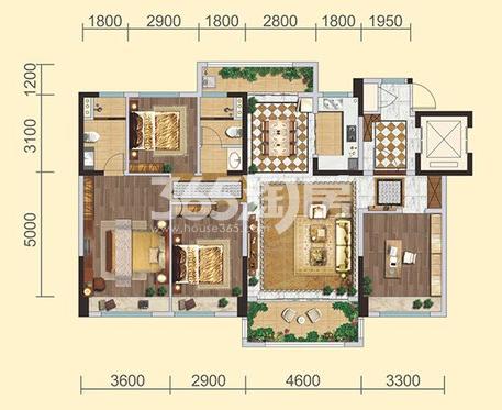 碧桂园凤凰城户型图E户型4室2厅2卫1厨140.00㎡