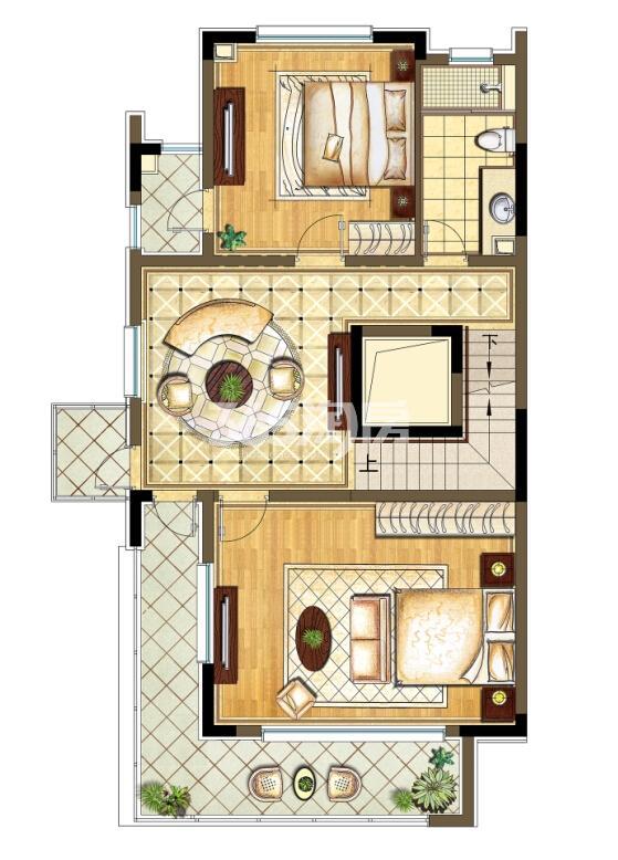 瑞安翠湖山西边01室A1户型2层