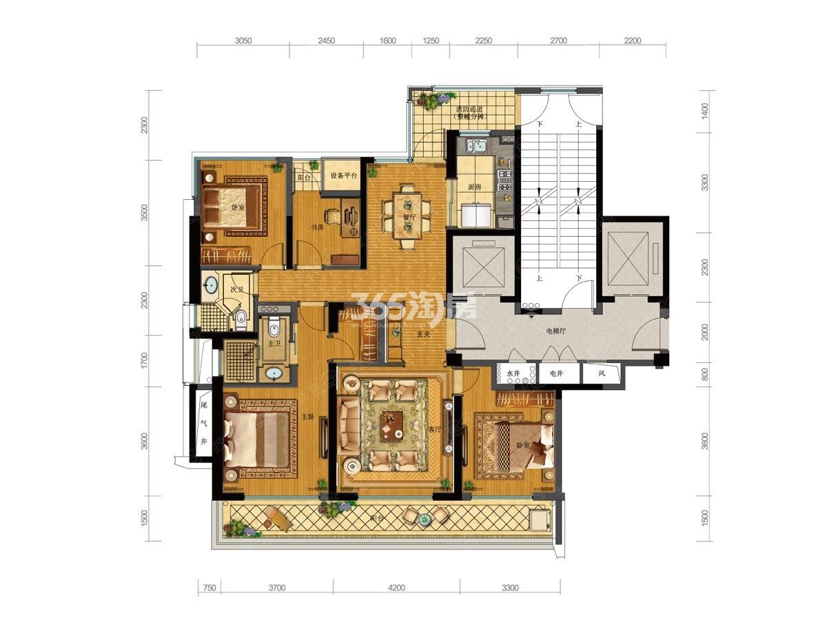 融创时代奥城C6户型139方(13号楼)