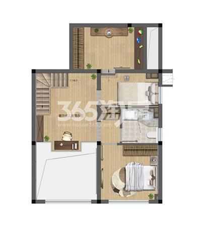 中骏六号街区B户型图70㎡二层