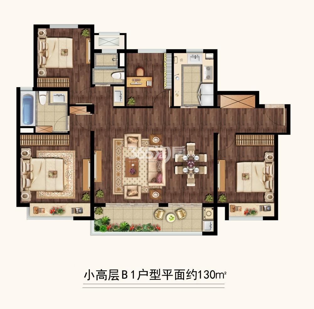 中海凤凰熙岸三期小高层约130平B1户型