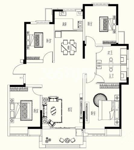 D-2户型 4室2厅2卫1厨