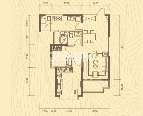 恒大都市广场 2室2厅1卫1厨 85.20㎡